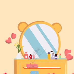 彩色创意化妆镜背景
