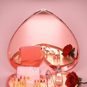 粉红女王节玫瑰花宝盒背景海报