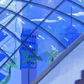 蓝色创意商场电梯背景