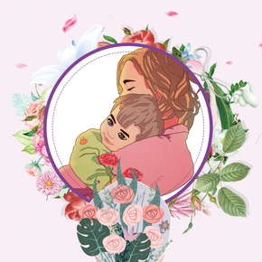 可爱母亲孩子拥抱花朵背景