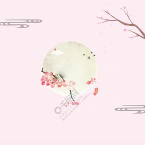 古风粉色桃花海报