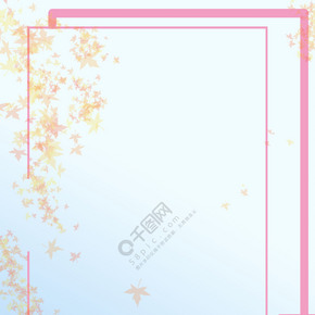 红色 枫叶 边框 背景图
