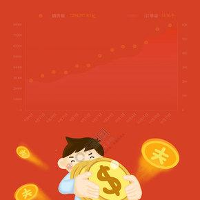 扁平商务抱金币的男士金融理财背景