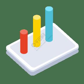 ppt数据柱状图2.5D插画矢量图