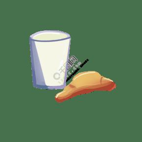 一杯牛奶和一塊牛角包
