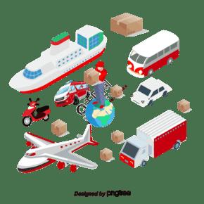 矢量物流和快遞運輸過程