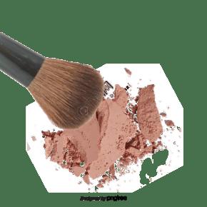 破碎的脸红和化妆刷