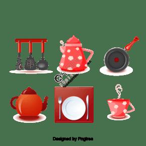 可愛的廚房用具茶設計矢量素材,