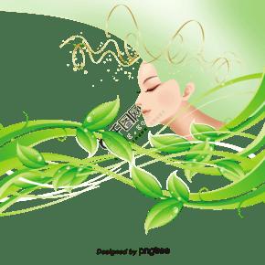 绿色春天花姑娘