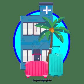 矢量酒店和椰子樹