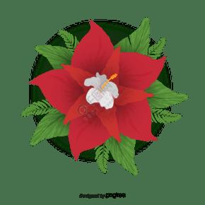 红色花朵矢量图素材