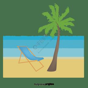 卡通陽光明媚的海灘與椰子樹