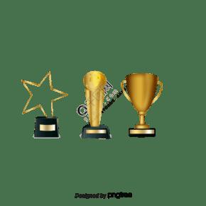 三个金色奖杯