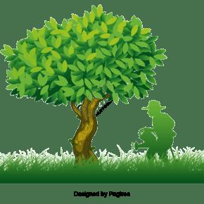 绿树剪影数字浇水乔木元素