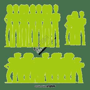 绿色矢量人群剪影