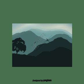矢量风景背景树和鸟