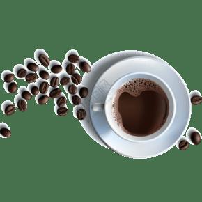 矢量咖啡杯咖啡豆