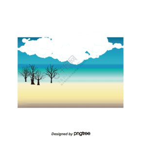 卡通畫藍色水域遙遠的椰子樹