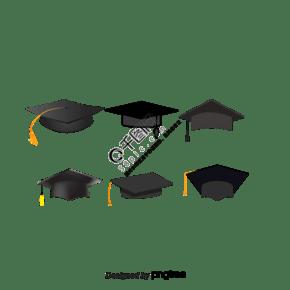 简单的黑色卡通毕业帽学士学位的设计