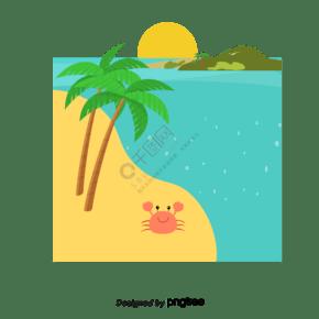 矢量卡通海海灘椰子蟹太陽