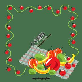 创意水果和蔬菜枫叶框架矢量