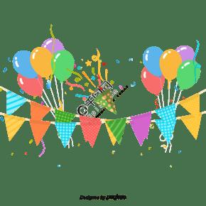 彩色气球夏天党背景矢量素材