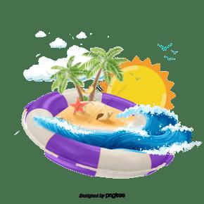 動畫片游泳圓環在海灘背景中