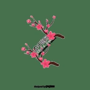 樱桃装饰分支矢量手绘