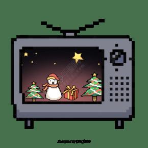 圣诞节圣老式电视机