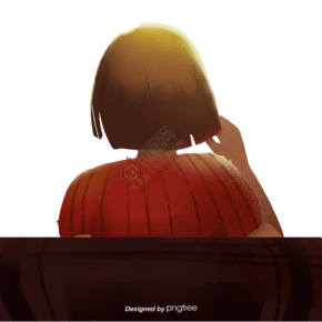 小女孩坐在椅子上看前方