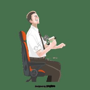 一個坐在辦公椅子上喝茶的男人