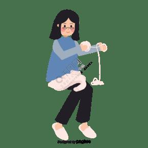 戴眼鏡女孩織毛衣