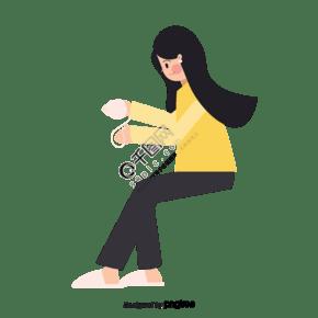 黃衣服女孩坐著纏毛線