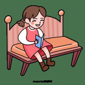 小女孩坐在椅子上開心的看書