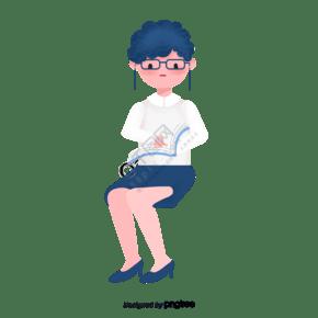 戴眼鏡阿姨坐著看書