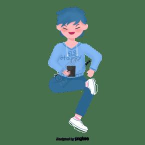 藍毛衣男孩坐著玩手機