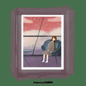 靠坐在椅子上看風景的女人