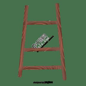 一個木質的框架梯子