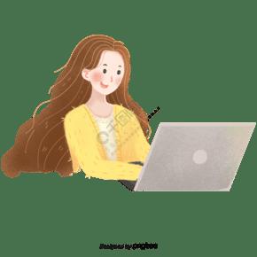 正在用筆記本電腦辦公的女人