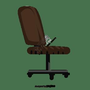 一把棕色的帶輪子的椅子