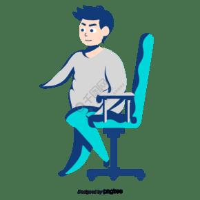 坐在藍色椅子上的男人