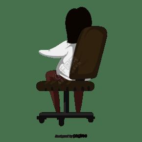 靠坐在辦公椅子上的女人