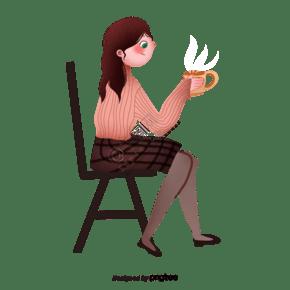 坐在椅子上喝咖啡的女人