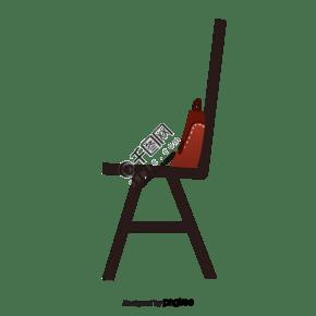 一把黑色的椅子上放著個袋子