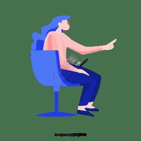藍色椅子座椅女孩