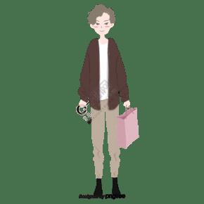 手绘风格男孩手提袋