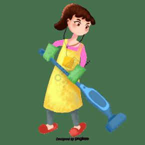 聽歌打掃衛生的婦女