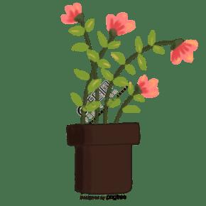 可愛卡通插畫小花盆栽