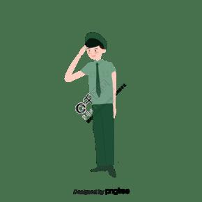 夏季警察男性敬禮