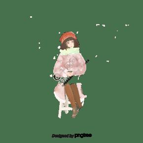 冬季女孩坐著咖啡椅子